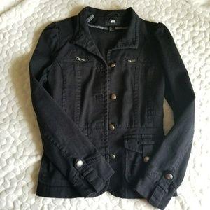 H&M black military jacket bomber utility denim 2-4